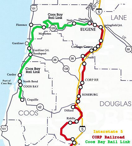 Coos Bay Oregon Map Short Line of the Year: Coos Bay Rail Link   Railway Age Coos Bay Oregon Map