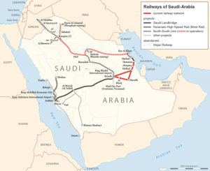 Rail transport map of Saudi Arabia