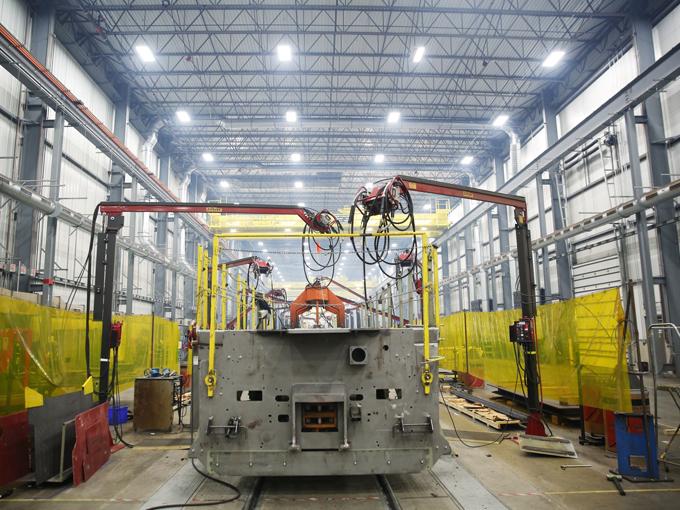 Locomotive platform fabrication at the Fort Worth Plant Photo Credit GE