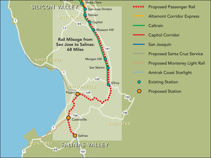 LAN to manage Salinas rail project construction - Railway Age Capitol Corridor Map on