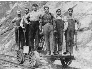 Gust Melonas 3rd from left in 1908 near Stevenson WA