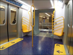 Mock-up of the proposed R211 open gangway subway car displayed by the MTA in December, 2017.