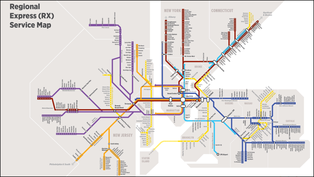 Map Of New York Rail System.T Rex New Plan To Integrate Dinosaur Nyc Transit Systems Railway Age