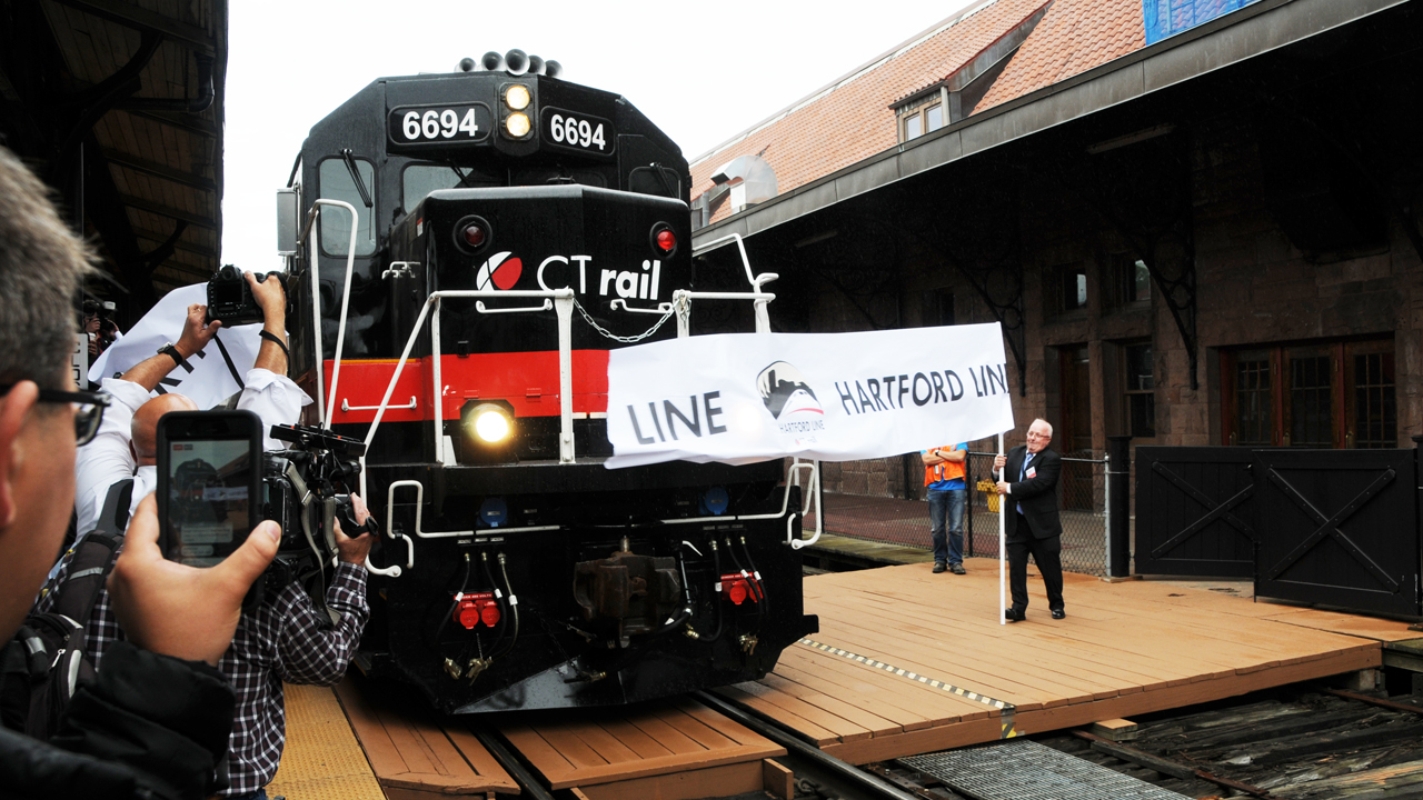 Connecticut Amtrak banner Hartford Line