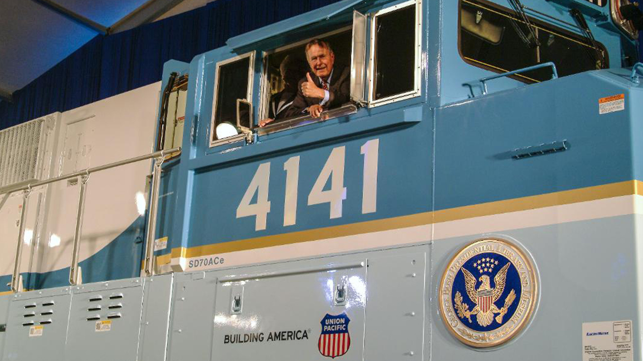 President George H.W. Bush at the dedication of UP 4141. Union Pacific