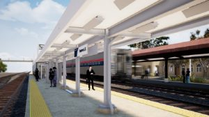 As part of the Homewood, Ill., station project, Amtrak is building a new 650-foot boarding platform to serve the six trains on the Chicago-Carbondale Illini & Saluki and Chicago-New Orleans City of New Orleans routes. (AECOM rendering for Amtrak © 2020)