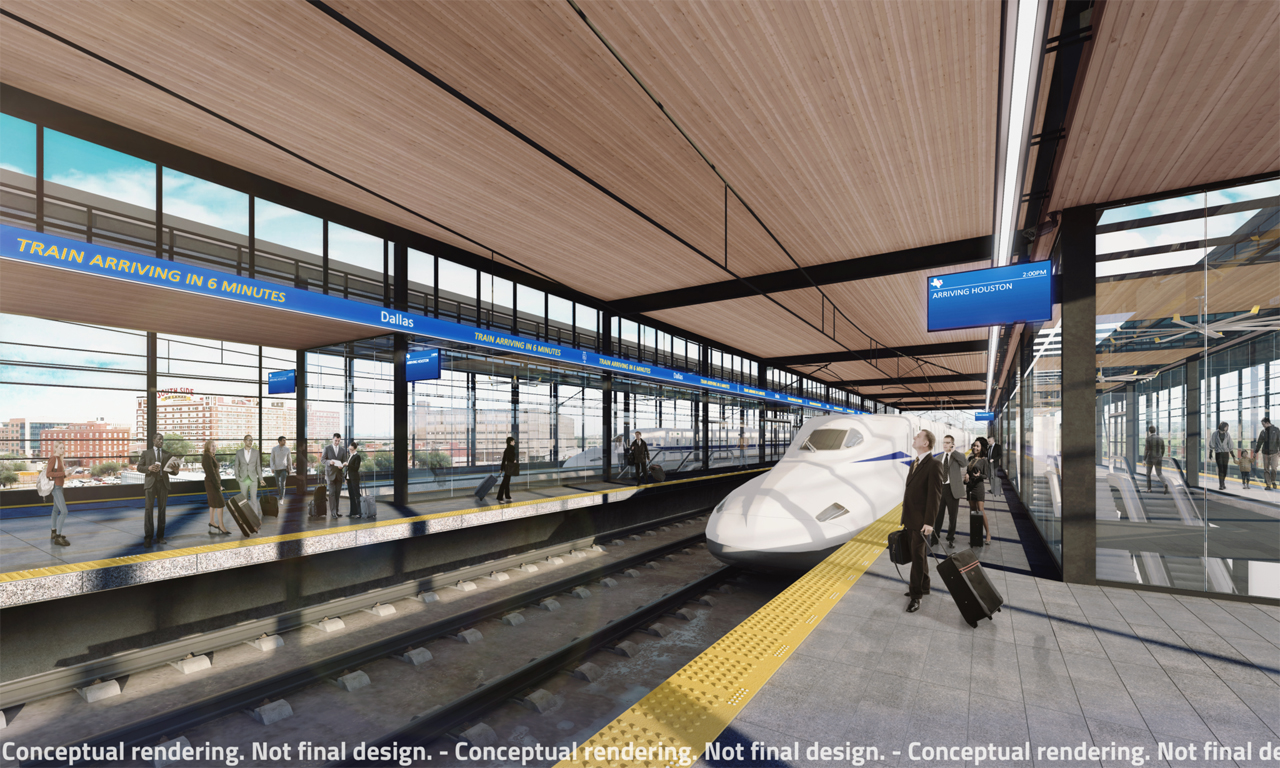The proposed $20 billion, 240-mile rail line connecting Dallas (potential station pictured) and Houston has completed key regulatory processes.