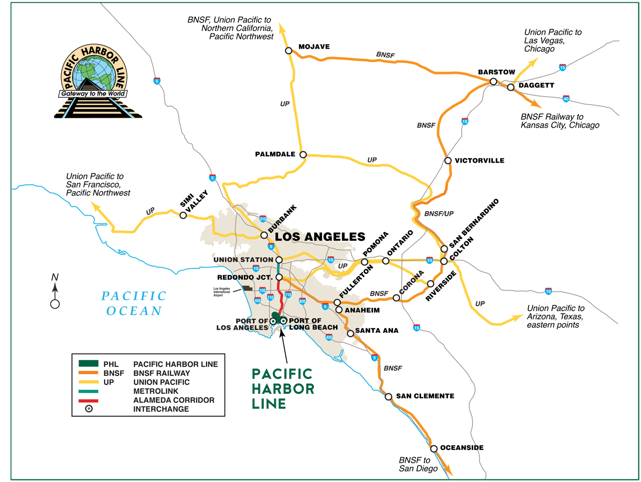 PHL, the Railway Age 2009 Short Line of the Year, provides rail switching services to customers in the Ports of Long Beach and Los Angeles.
