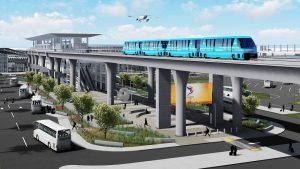 The 2.5-mile, six-station APM is slated to open in 2023. (Rendering courtesy of Los Angeles World Airports)