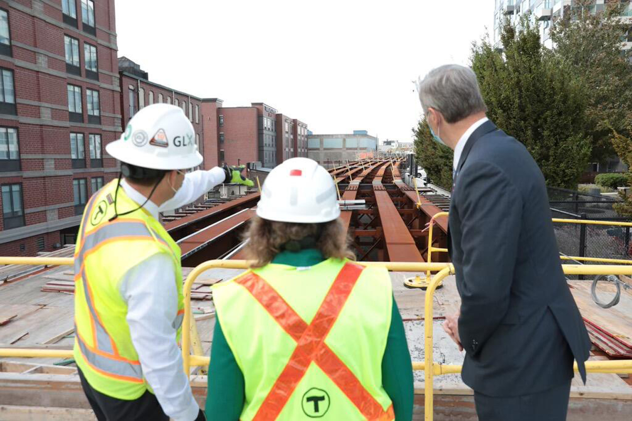 GLX Project Manager John Dalton (left) recently showed Transportation Secretary and CEO Stephanie Pollack, and Gov. Charlie Baker construction progress of the $2.3 billion, 4.7-mile extension. It's on schedule to open in December 2021.