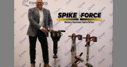 The SpikeForce will operate using a standard, off-the-shelf Milwaukee drill, but it will have the capability to dock two batteries on the tool at once, allowing for increased production. Pictured is Peter Bartek, President of FTS, with the new SpikeForce.