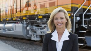 Katie Farmer becomes the first female chief executive of a Class I railroad, BNSF, on Jan. 1, 2021.