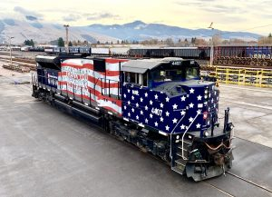 Montana Rail Link is honoring veterans and essential workers with special locomotives running in regular service between Billings, Mont., and Sandpoint, Idaho. (Photograph by Max Medlin, MRL)