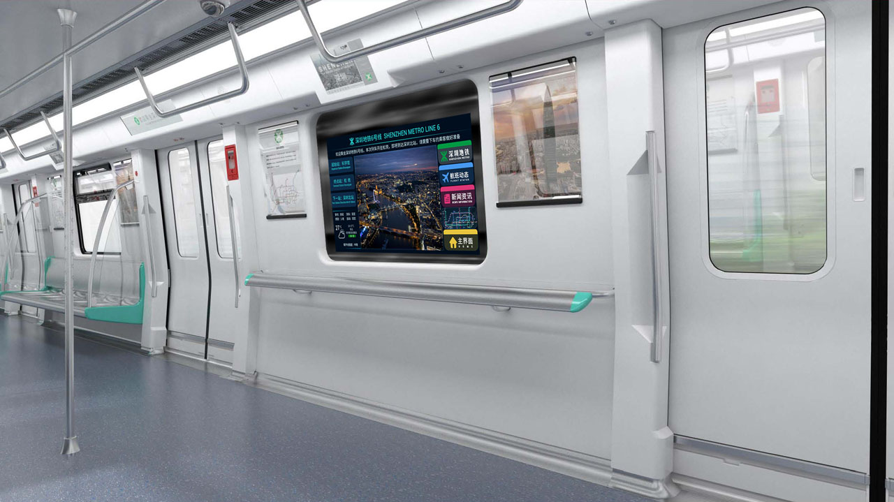 The Wabtec Smart Window provides not only a view outside, but also real-time information on delays and schedule changes as well as on the weather and stock market.