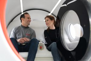 Virgin Hyperloop's Chief Technology Officer and Co-founder Josh Giegel and Director of Passenger Experience Sara Luchian rode in a two-seat Experimental-Pod-2 (XP-2), which was reportedly propelled to 107 mph in 6.25 seconds. (Virgin Hyperloop)