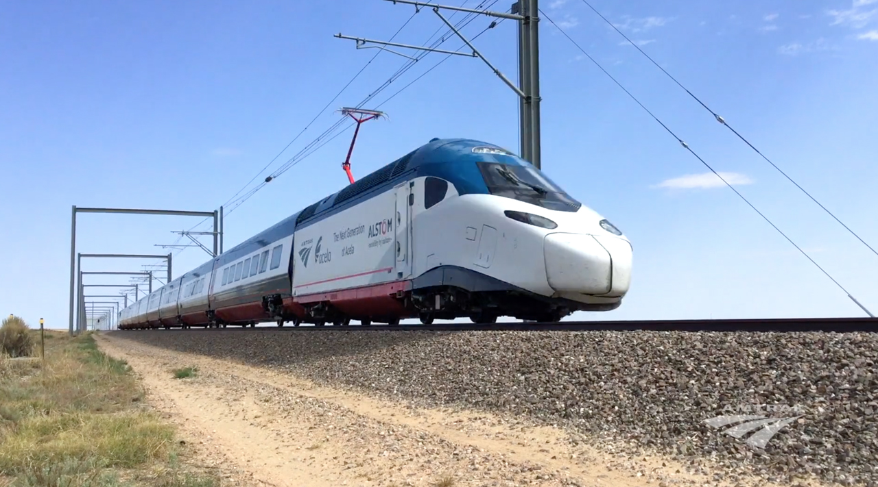 A still shot from Amtrak's Next-Generation Acela video of advanced testing at the Transportation Technology Center, Inc., in Colorado.