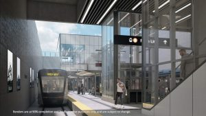 A below-grade stop at Humber College (rendering shown) is one of 18 stations planned for the new 11-km (6.8-mile) Finch West LRT line in northwest Toronto.