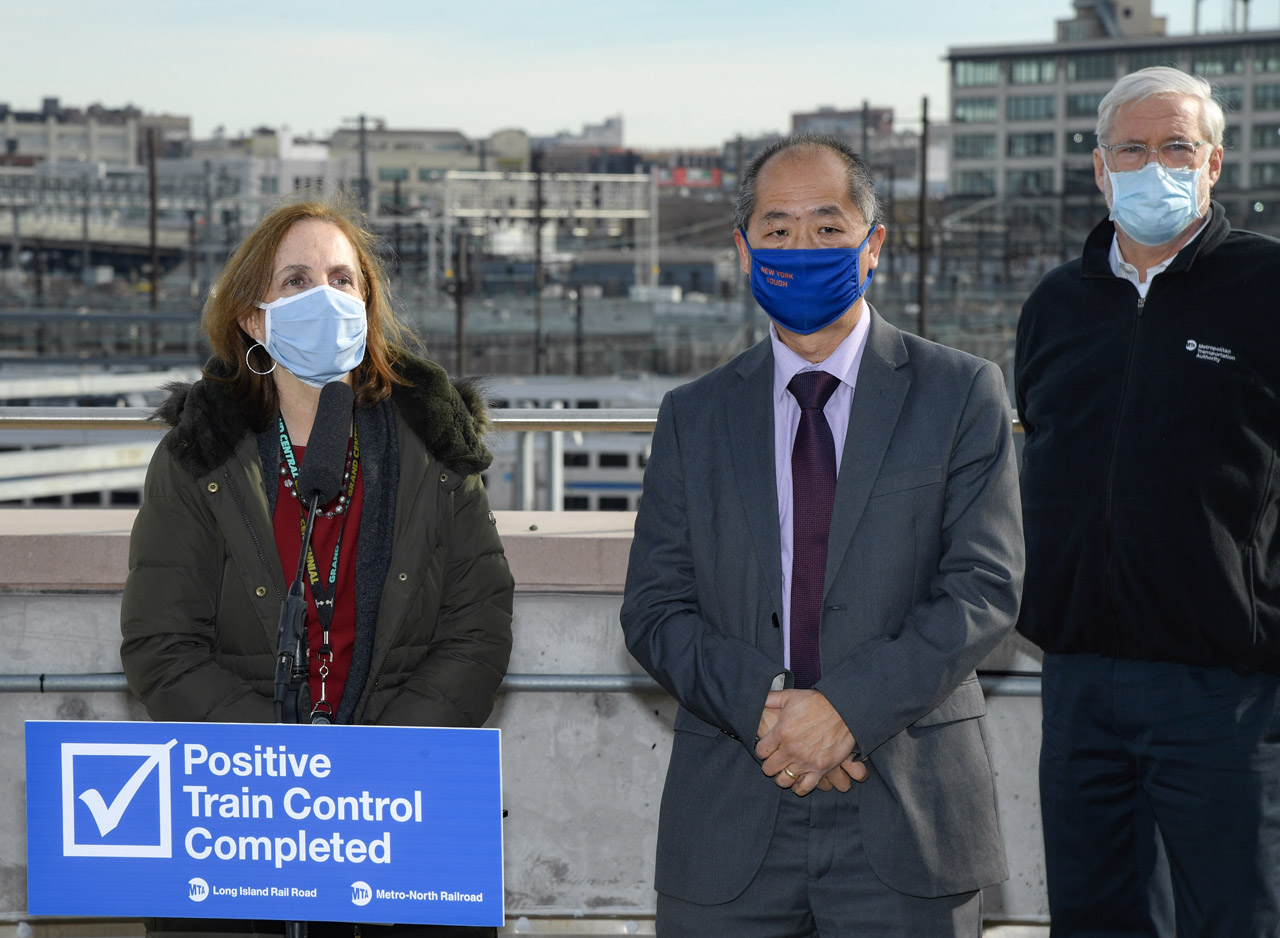 MTA Chairman and CEO Patrick J. Foye (right), Metro-North Railroad President Catherine Rinaldi and Long Island Rail Road President Phil Eng announced Dec. 23 that the commuter railroads are operating in Positive Train Control (PTC) mode. (Marc A. Hermann / MTA New York City Transit)