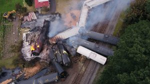 """NTSB's recently released report on a 2017 CSX derailment in Pennsylvania, pictured, found the probable cause was """"inappropriate use of hand brakes on empty railcars to control train speed and the placement of blocks of empty railcars at the front of the train consist."""" (Photo from CSX)"""
