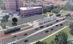 The new 3.48-route-mile extension will run south from the existing terminus at Union Station to the University of Missouri – Kansas City. It will include 15 new stop platforms at nine stations, eight of which will be new. The rendering shows Plaza Station.