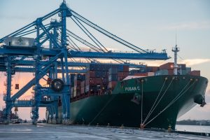 The CMA CGM Pusan C vessel is one of the largest vessels to date that calls at Port NOLA's current container facility at the Napoleon Avenue Container Terminal. (Port NOLA)