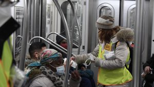 New York MTA staff participated this week in the Mask Force program—among the initiatives that public transportation agencies have undertaken to protect riders and employees during the pandemic. (Marc A. Hermann / MTA)