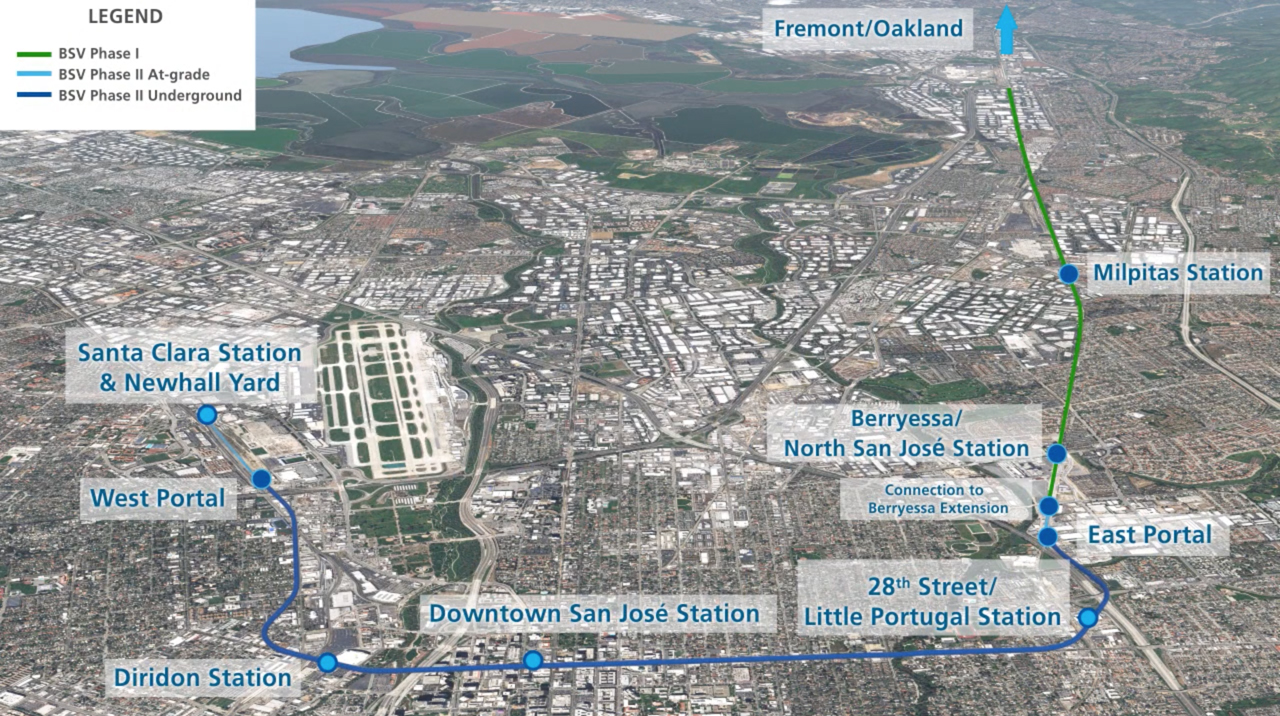 The new $100 million funding allocation will go toward the $6.86 billion final phase of VTA's BART Silicon Valley project, which will extend operations 6.5 miles from downtown San José to Santa Clara.