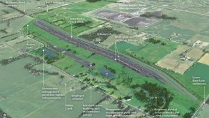 This artist rendering shows the proposed Milton Logistics Hub on CN property, located about 30 miles west of Toronto.
