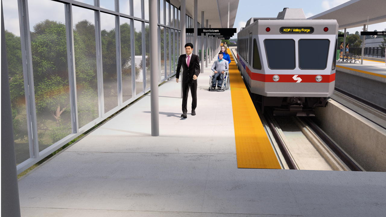 Five stations are planned for SEPTA's 3.5-mile King of Prussia rail extension, including the First and Moore/Valley Forge Station (rendering above).