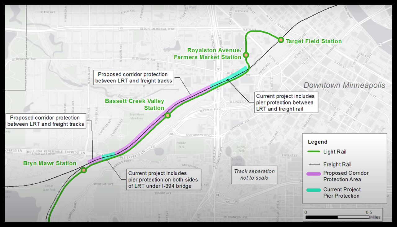 The challenges of constructing the proposed corridor protection wall in the BNSF-Wayzata subdivision (pictured above) are among those setting back the Southwest LRT (Metro Green Line extension) project in Minneapolis-St. Paul.