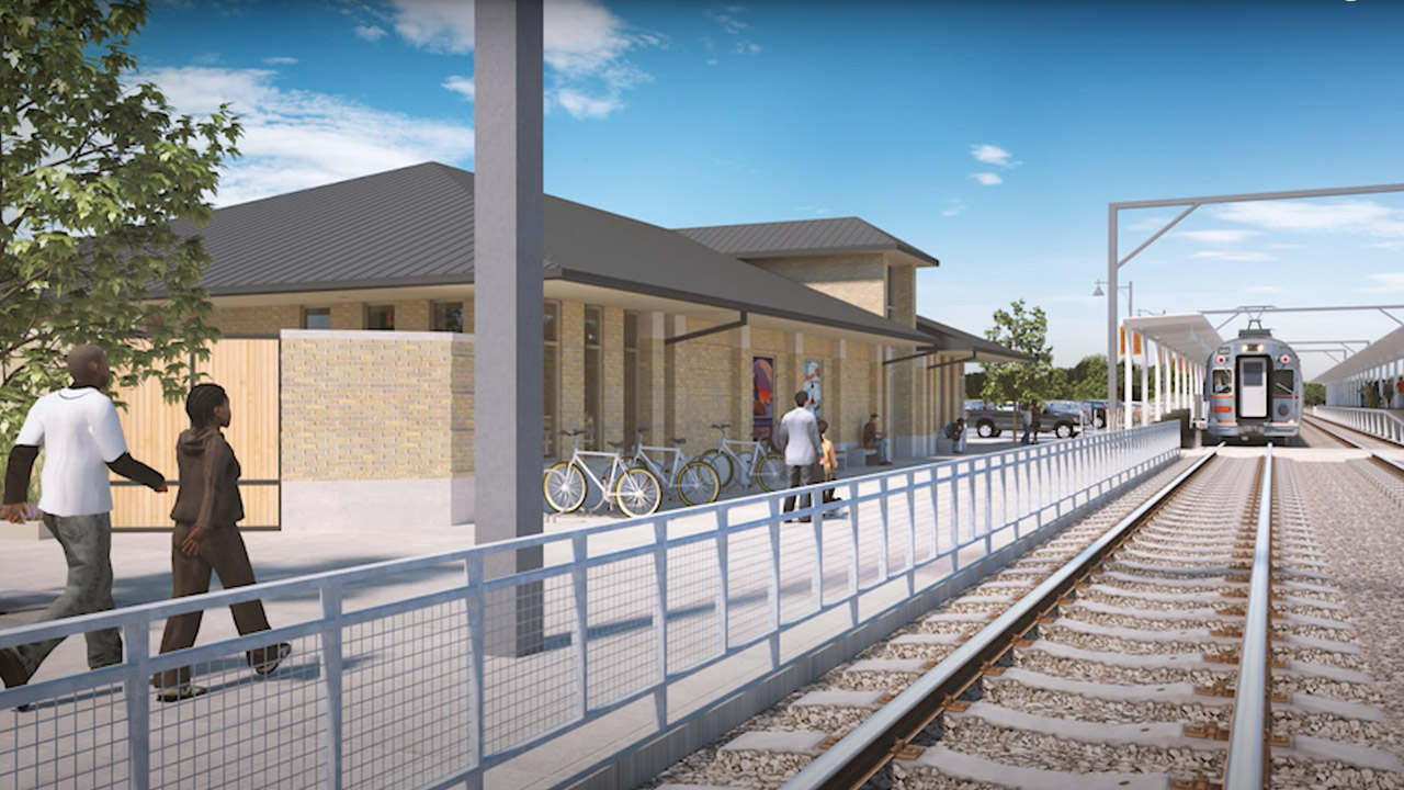 The NICTD Board approved a $17 million construction management contract to WSP USA for the 26-mile Double Track Northwest Indiana project (rendering above), plus $1 million for rail and about $200,000 for signaling electronics contracts, so once construction starts in mid-to-late summer, work can begin.