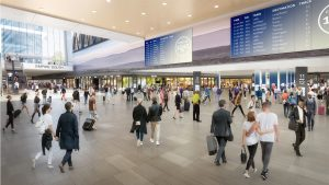 Gov. Cuomo's plan includes reconstruction of the existing Penn Station (rendering above) and acquisition of property south of the station to expand it and construct eight additional tracks, increasing train capacity by 40%.