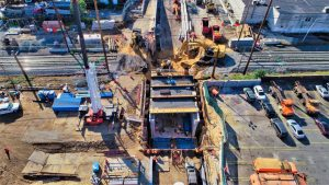 MTA Construction & Development and MTA Long Island Rail Road contractors eliminated five railroad crossings in 2020. Pictured is the School Street undergrade crossing project on the border of Westbury and New Cassel, N.Y.