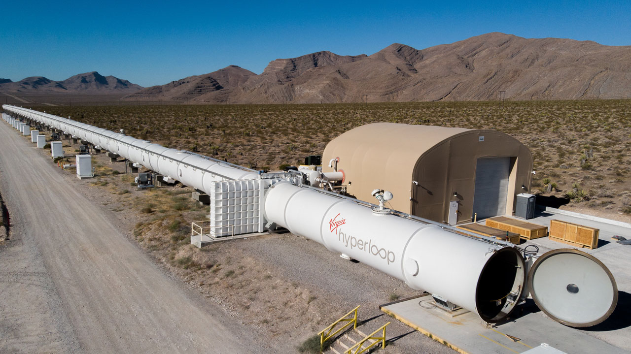 In November, Virgin Hyperloop demonstrated for the first time with riders its hyperloop technology at the 500-meter DevLoop test site in Las Vegas (pictured).