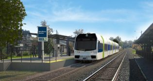 The proposed 18-mile Glassboro-Camden Line would operate diesel light rail vehicles—like those found on New Jersey Transit's River LINE—along Conrail track. (Rendering from GCL, Twitter.)