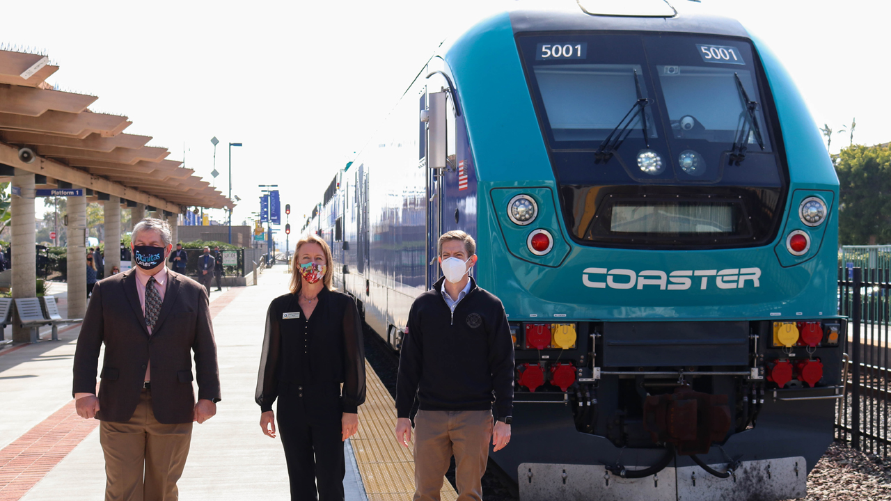On hand to celebrate the Feb. 8 rollout of new North County Transit District (NCTD) power and railcars were Tony Kranz, NCTD Board Chair and city of Encinitas Deputy Mayor (left); Catherine Blakespear, San Diego Association of Governments (SANDAG) Board Chair and city of Encinitas Mayor; and Rep. Mike Levin (D-Calif.).