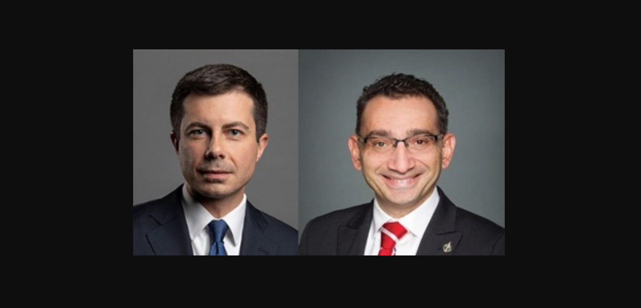 """This new focus on climate will reinforce our already vast cooperation portfolio across all modes of transportation to ensure safe, secure, and efficient transportation networks of today, while preparing for the innovations of tomorrow,"" U.S. Transportation Secretary Pete Buttigieg (left) and Canadian Transport Minister Omar Alghabra said."