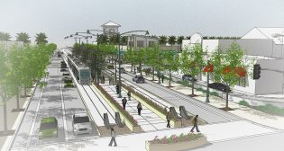 HDR assisted in securing FTA funding for four projects that, together, will add nearly 34 miles of light rail, streetcar and commuter rail lines. Pictured: An early-design station concept for Valley Metro's South Central Light Rail Extension/Downtown Hub Project in Phoenix, Ariz.
