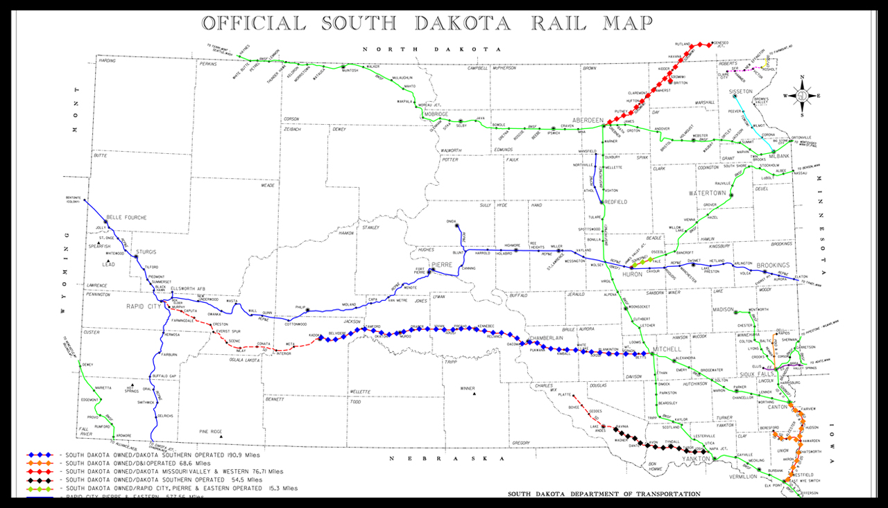 Watco subsidiary Ringneck and Western Railroad will operate 190 miles of active line between Mitchell and Kadoka, S.D. (Pictured above as red line with blue diamond symbols.)