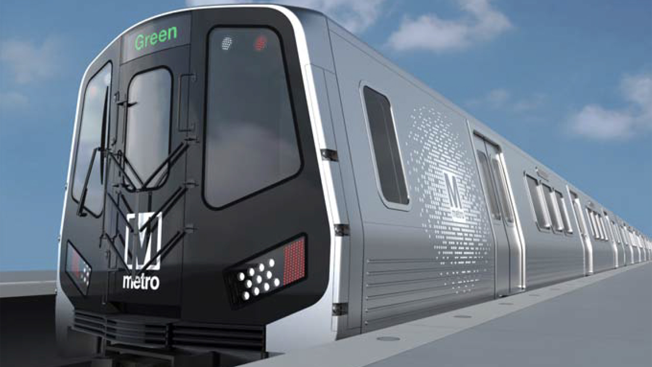 Pictured is an artist's rendering of the new Hitachi Rail 8000-series trains for WMATA.