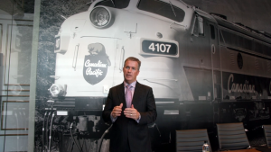 """""""With this purchase from Ballard, a leader in the hydrogen fuel cell industry, CP further demonstrates its commitment to developing the next generation of locomotive—one that produces zero emissions,"""" said Keith Creel, CP President and CEO and Railway Age's 2021 Railroader of the Year."""