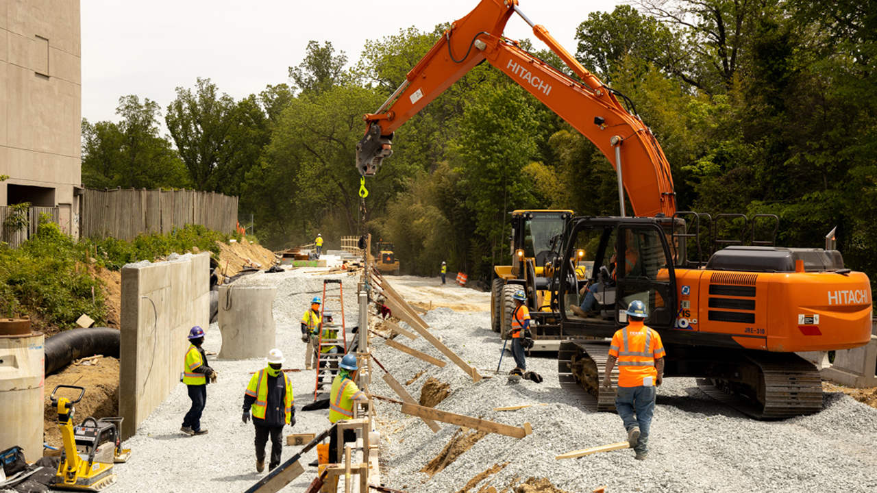 A design-build contractor team will be selected in June for the litigation-plagued Purple Line light rail project in Maryland. A financial agreement is expected to wrap up in September. (Pictured: Purple Line construction work in Bethesda.)