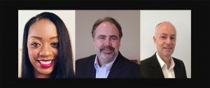 Nichole Gladney, Keolis North America; Paul Comfort, Trapeze Group America (center); and Andrew McGrath, BAI Communications