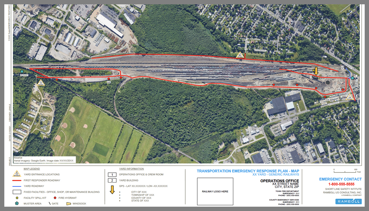 SLSI can develop a Transportation Emergency Response Plan that includes detailed high-resolution maps (like the one pictured) for short lines and regionals.