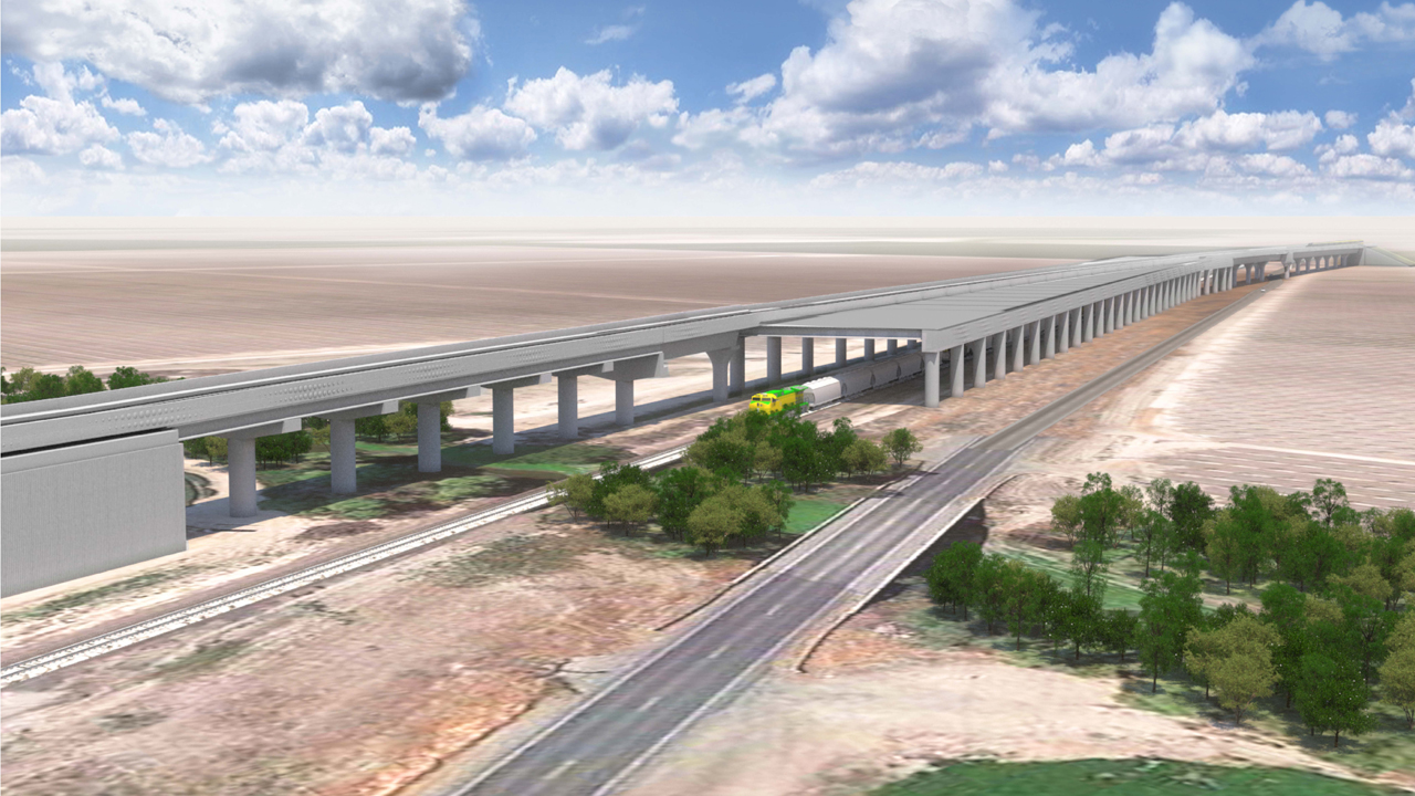 """At the Avenue 144/Tule River Viaduct (rendering shown above) in Tulare County, """"crews from Martinez Steel are tying rebar for a multi-cell reinforced box culvert, a structure that will allow water and wildlife to cross below the high-speed rail alignment. More than 800 cubic-yards of concrete will be placed for the base of the culvert. When completed, the culvert will be more than 12-feet high, 112-feet wide, and 101-feet long,"""" according to CHSRA."""