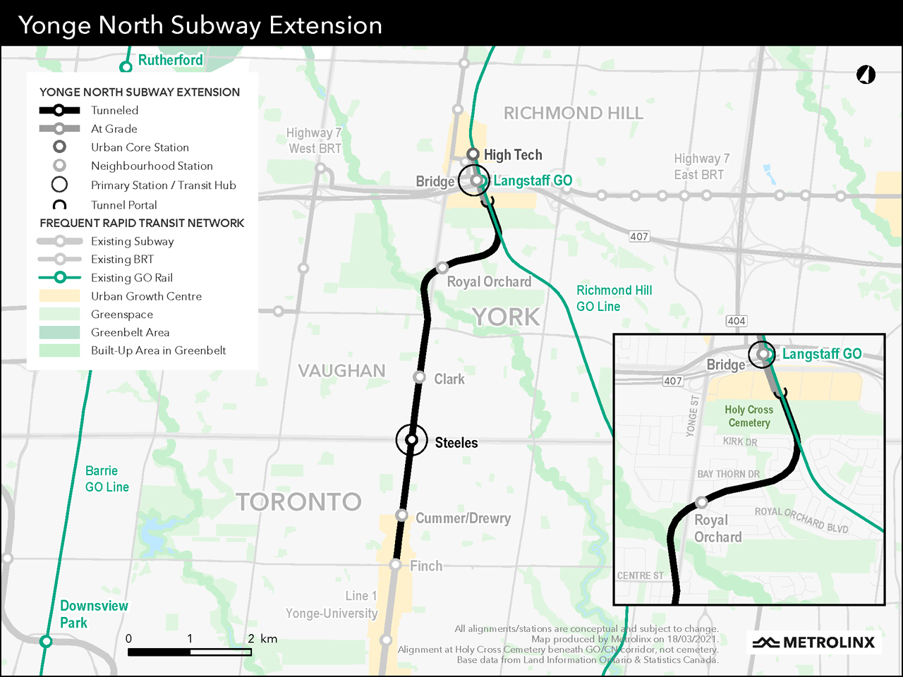 Moving on for further study is an alignment (pictured) that places the northern section of the extension at the surface along the existing CN corridor, rather than tunneling to Richmond Hill.