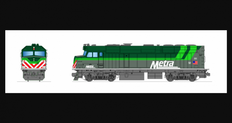"""Respondents to Metra's RFP for battery-powered locomotives can chose to paint them in a """"green version of Metra's paint scheme"""" (per the conceptual illustrations, above) to indicate the green technology."""