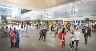 """The single-level alternative (rendering above) would transform """"Penn Station into an open, single-level concourse, eliminating all low ceiling heights and simplifying entry and exit routes from trains and the street level, while also creating new large circulation areas bigger than the Great Hall of Grand Central Terminal,"""" according to MTA."""