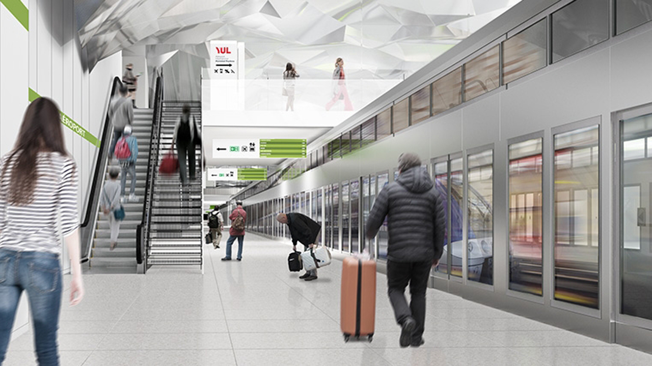 A REM automated light rail trip from downtown Montreal to the Montréal-Trudeau International Airport is expected to take 20 minutes.