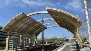 The Hidden Ridge Station (pictured) was originally part of the 3.9-mile Irving-2 opening of the Orange Line in December 2012, but it was deferred in anticipation of Verizon Communications' Hidden Ridge development, which is still under way.